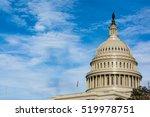 Stock photo us capitol buiding washington dc dome detail closeup alone daylight shadow sunshine american 519978751