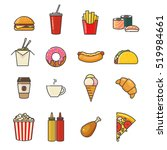 fast food line icons set.... | Shutterstock .eps vector #519984661