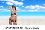 beautiful young bikini model... | Shutterstock . vector #51998632