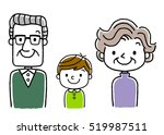 3 people family  grandparents... | Shutterstock .eps vector #519987511
