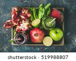 green and purple fresh juices... | Shutterstock . vector #519988807