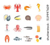 set of seafood for menu your... | Shutterstock .eps vector #519997609