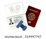 Stock vector passport with biometric data identification document and stamp flat vector illustration 519997747