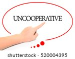 Small photo of Hand writing UNCOOPERATIVE with the abstract background. The word UNCOOPERATIVE represent the meaning of word as concept in stock photo.