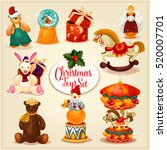 christmas toy and gift set.... | Shutterstock .eps vector #520007701