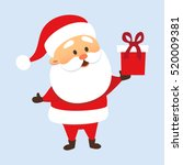 santa claus holding a gift box... | Shutterstock .eps vector #520009381