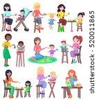 feeding baby illustration.... | Shutterstock .eps vector #520011865