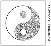 symbol of yin and yang. in gold ... | Shutterstock .eps vector #520012411