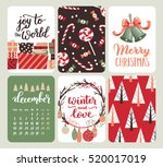 collection of six christmas and ... | Shutterstock .eps vector #520017019