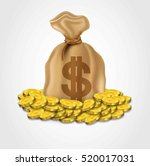 sack of dollar with pile of...   Shutterstock .eps vector #520017031