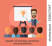 speaker at business convention... | Shutterstock .eps vector #520017247