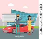 young rich people standing near ... | Shutterstock .eps vector #520017364