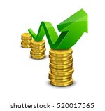 pile of coin with green rising... | Shutterstock .eps vector #520017565