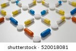 capsules and pills lay out on
