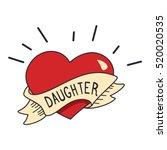 old school tattoo heart  ribbon ... | Shutterstock .eps vector #520020535