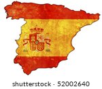 Old Map Of Spain With Flag On...