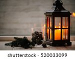 christmas lanterns with candles.... | Shutterstock . vector #520033099
