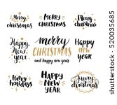 set of hand drawn merry... | Shutterstock . vector #520035685