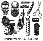 set of vintage monochrome... | Shutterstock . vector #520038805