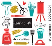 arts and crafts hand drawn... | Shutterstock . vector #520041304