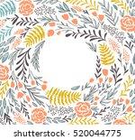 vector floral frame in doodle... | Shutterstock .eps vector #520044775