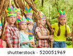 happy kids playing injuns... | Shutterstock . vector #520051969