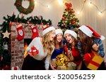 friends sing karaoke at...   Shutterstock . vector #520056259