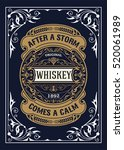 old whiskey label with floral... | Shutterstock .eps vector #520061989
