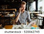 workaholic businessman on break ... | Shutterstock . vector #520062745