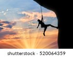 climber on the rope climbs... | Shutterstock . vector #520064359