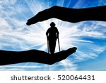disabled woman stands on... | Shutterstock . vector #520064431