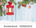 christmas candle lantern and... | Shutterstock . vector #520065241