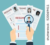 woman resume with magnifier at... | Shutterstock . vector #520069411