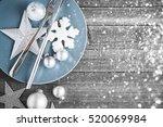 christmas dinner plate... | Shutterstock . vector #520069984