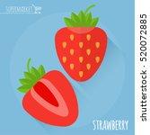 strawberry. long shadow flat... | Shutterstock .eps vector #520072885
