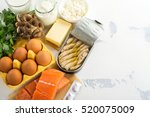 Stock photo natural sources of vitamin d healthy food background top view space for text 520075009