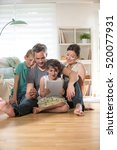 at home  cheerful family of... | Shutterstock . vector #520077931