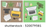 writer desk mockup set. desk... | Shutterstock .eps vector #520079581