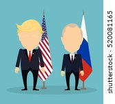 Russia November. 21, 2016 Donald Trump and Vladimir Putin standing together. Russian and american flags. | Shutterstock vector #520081165