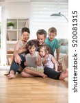 at home  cheerful family of... | Shutterstock . vector #520081315