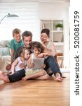 at home  cheerful family  dad ... | Shutterstock . vector #520081759