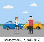 head on collision. car accident....   Shutterstock .eps vector #520082017