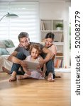 at home  cheerful family of... | Shutterstock . vector #520082779