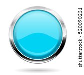 blue round button with chrome... | Shutterstock . vector #520090231