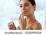 lips skin care. beautiful woman ... | Shutterstock . vector #520099024