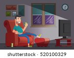 man watching tv and drinking... | Shutterstock .eps vector #520100329