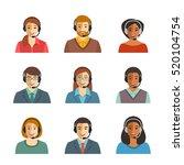 call center agents flat avatars.... | Shutterstock . vector #520104754