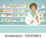 pharmacist at counter in... | Shutterstock . vector #520104811
