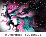 girl with long magical hair and ... | Shutterstock . vector #520105171