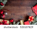 gifts boxes with fir branches... | Shutterstock . vector #520107829